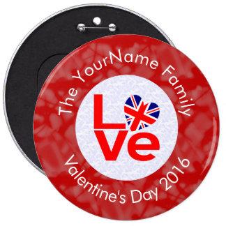 United Kingdom LOVE White on Red 6 Cm Round Badge