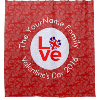 United Kingdom LOVE White on Red Shower Curtain
