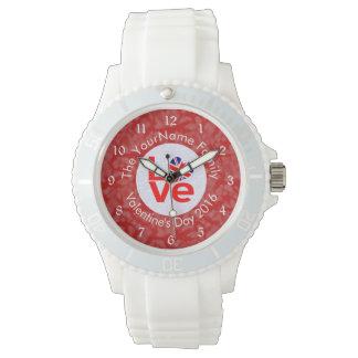 United Kingdom LOVE White on Red Wristwatch