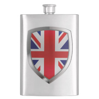 United Kingdom Metallic Emblem Hip Flask