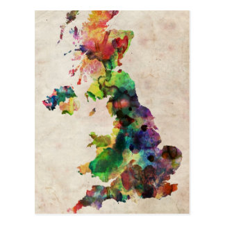 United Kingdom Watercolor Map Post Cards