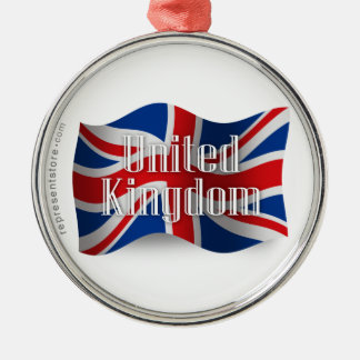 United Kingdom Waving Flag Metal Ornament