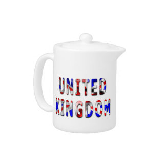 United Kingdom Word With Flag Texture Teapot