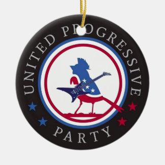 United Progressive Party Rock n Roll Logo Round Ceramic Decoration