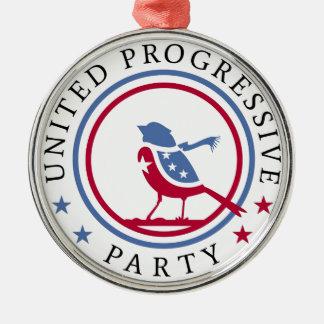 United Progressive Party Scarf Logo Merchandise Silver-Colored Round Decoration