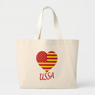 United Socialist States of America Flag Heart Canvas Bags