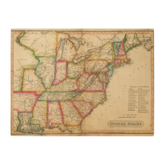 United States 11 Wood Print