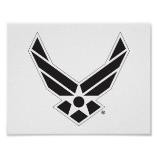 United States Air Force Logo - Black Poster
