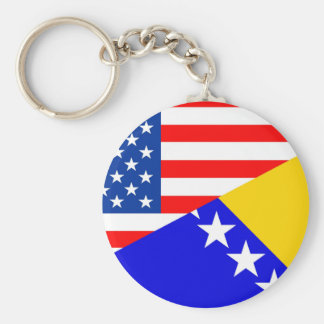 united states america bosnia herzegovina half flag basic round button key ring