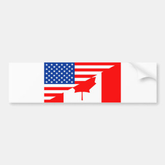 united states america canada half flag usa country bumper sticker