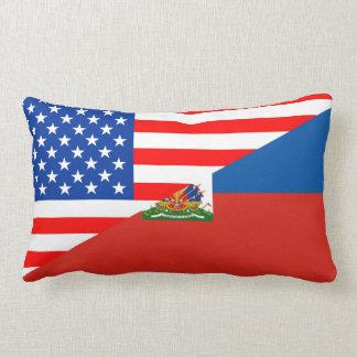 united states america haiti half flag usa country lumbar pillow