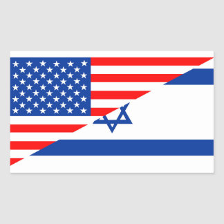 united states america israel half flag usa country rectangular sticker
