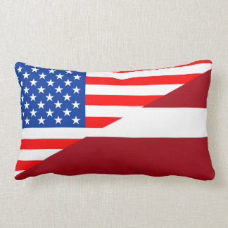 united states america latvia half flag usa country lumbar cushion