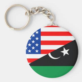 united states america libya half flag usa basic round button key ring