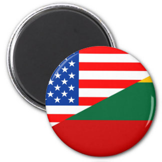 united states america lithuania half flag usa coun 6 cm round magnet