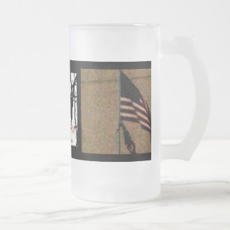 , UNITED STATES, AMERICA 16 OZ FROSTED GLASS BEER MUG