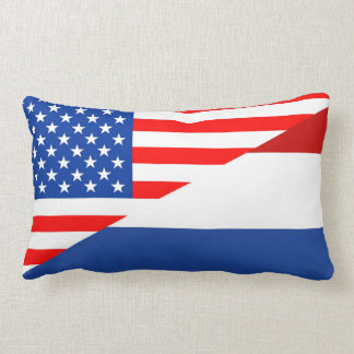 united states america netherlands half flag  usa lumbar cushion