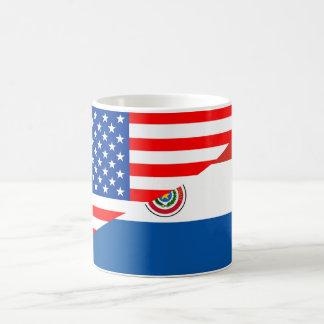 united states america paraguay half flag usa count basic white mug