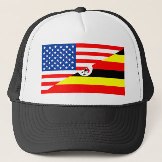 united states america uganda half flag usa country trucker hat