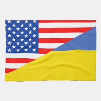united states america ukraine half flag usa kitchen towels