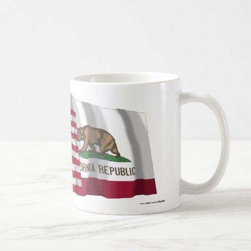 United States and California Waving Flags Mug