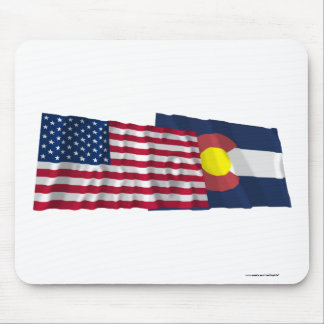 United States and Colorado Waving Flags Mouse Pad