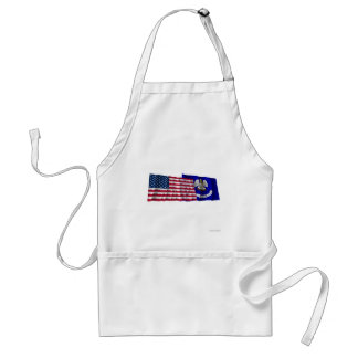 United States and Louisiana Waving Flags Aprons