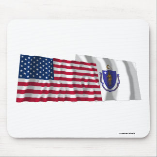 United States and Massachusetts Waving Flags Mouse Pad