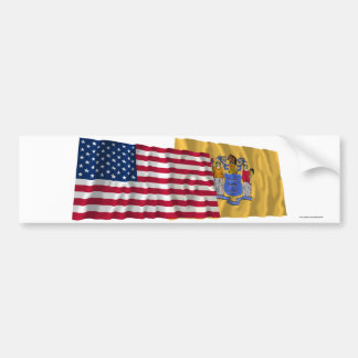 United States and New Jersey Waving Flags Car Bumper Sticker