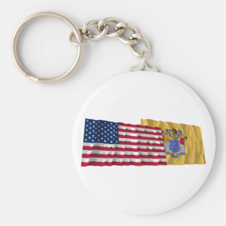 United States and New Jersey Waving Flags Key Chain