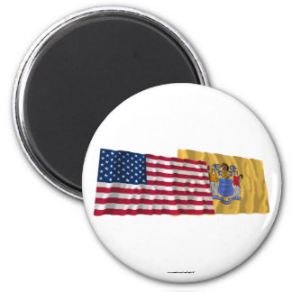 United States and New Jersey Waving Flags Fridge Magnets