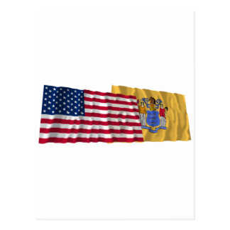 United States and New Jersey Waving Flags Postcard