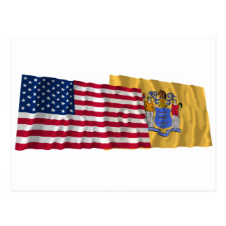 United States and New Jersey Waving Flags Post Cards