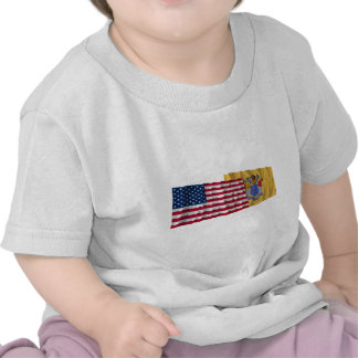 United States and New Jersey Waving Flags Tee Shirts