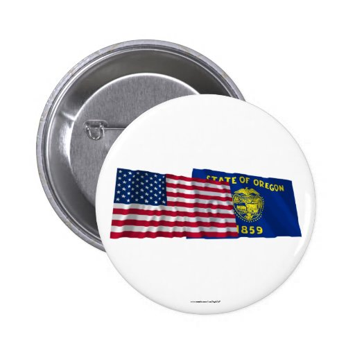 United States and Oregon Waving Flags Pinback Buttons