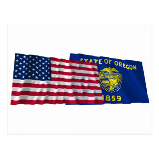 United States and Oregon Waving Flags Postcard