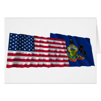 United States and Pennsylvania Waving Flags Greeting Cards