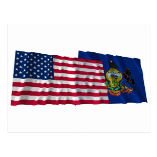 United States and Pennsylvania Waving Flags Postcards