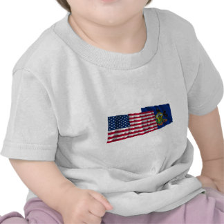 United States and Pennsylvania Waving Flags Tshirt
