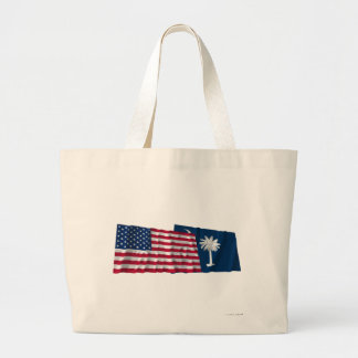 United States and South Carolina Waving Flags Bags