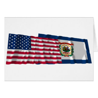 United States and West Virginia Waving Flags Greeting Card