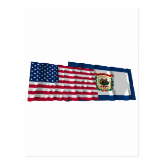 United States and West Virginia Waving Flags Postcards