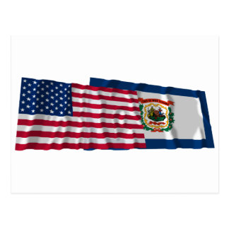 United States and West Virginia Waving Flags Postcard