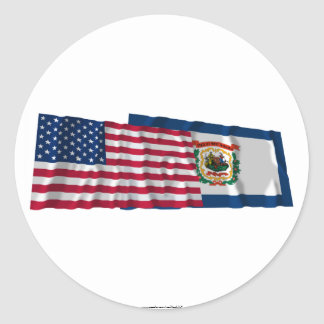 United States and West Virginia Waving Flags Round Sticker