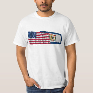 United States and West Virginia Waving Flags Shirts