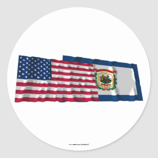 United States and West Virginia Waving Flags Sticker