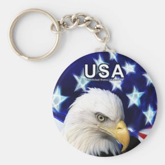 United States Bald Eagle Key-Chain Basic Round Button Key Ring