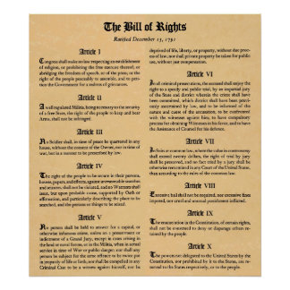 United States Bill of Rights First Ten Amendments Poster