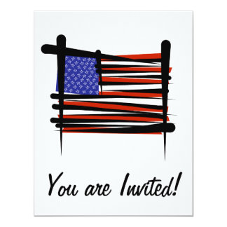 United States Brush Flag 11 Cm X 14 Cm Invitation Card