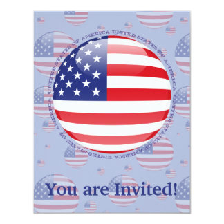 United States Bubble Flag 11 Cm X 14 Cm Invitation Card